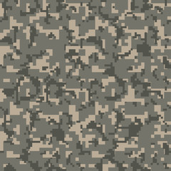 Brown pixel seamless camo pattern. Military desert camouflage texture. Green, brown. forest color. Vector fabric textile print designs.