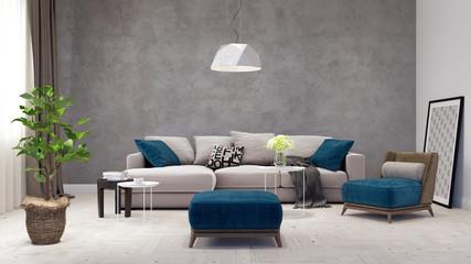 Modern Living room, interior design 3D Render 3D illustration