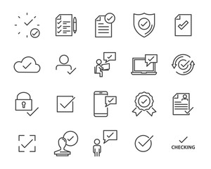 set of checkmark vector line icons, contains such as check, document and more