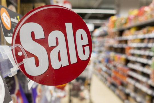 Discount sign in supermarket