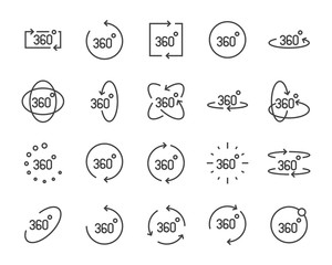 vr vector line icon set, such as 360degree, glasses, round