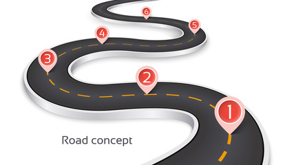 Winding 3d road infographic concept on a white background