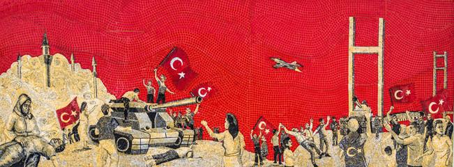 Banderas turcas. Estambul la capital de Turquía,