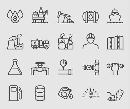 Line icons set for Oil industry