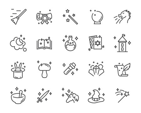 set of fantasy vector icons