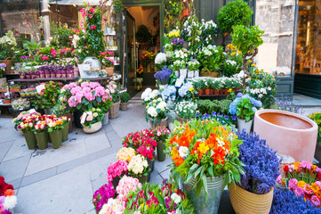 Obraz View outside of flower shop - fototapety do salonu