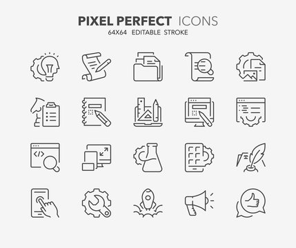 web development thin line icons