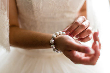 Bracelet on the hand of the bride