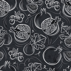 Seamless Patterns  with  pomegranate, fig and blueberry on grunge blackboard.Ideal for printing onto fabric and paper or scrap booking.
