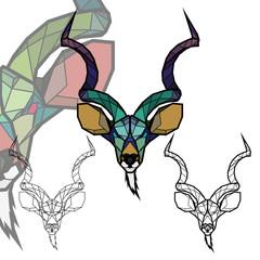 Geometric head kudu (antilope)
