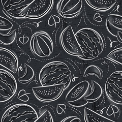 Seamless Patterns with melon and watermelon on grunge blackboard.Ideal for printing onto fabric and paper or scrap booking.