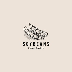 soybean logo hipster retro vintage vector icon illustration