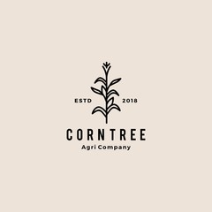 corn tree hipster retro vintage badge vector icon illustration