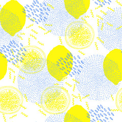 trendy seamless pattern with lemons, memphis style