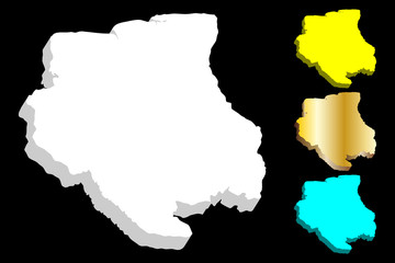 3D map of Suriname (Republic of Suriname,  Surinam) - white, yellow, blue and gold - vector illustration