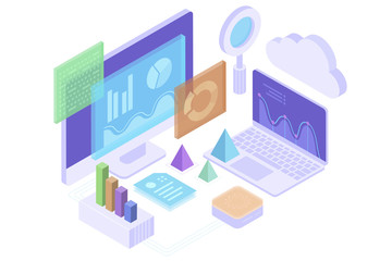 Concept business analytics, strategy of data financial graphs or diagrams. Financial review, Analysis data and Investment. 3d isometric illustration.