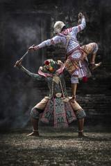 The pantomime Khon festival. Thai traditional dance of the Ramayana dance drama at  Ayutthaya, Thailand.