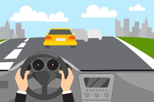 Hand driving a car