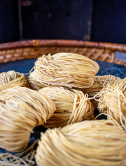 Dried bundles of Oriental style Hong Kong noodles