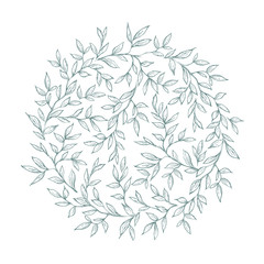 Lovely Hand Drawn Green Twigs, Branches  Vector Round Shape Garland. White Background. Retro Style. Delicate Green Sketched Floral Wreath.