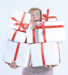 closeup.beautiful woman with gift boxes.isolated on a white