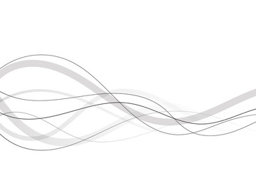 Abstract curved black lines on a white