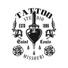 Tattoo studio vector emblem, heart pierced knife