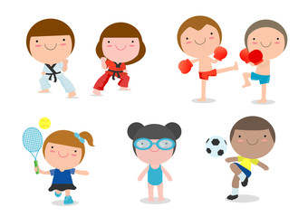 kids and sport, Kids playing various sports on white background, cartoon kid sports, boxing, football, soccer, tennis, taekwondo, karate, swimming, Vector illustration