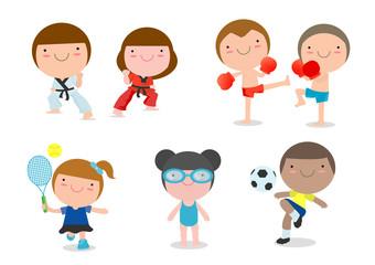 kids and sport, Kids playing various sports on white background, cartoon kid sports, boxing, football, soccer, tennis, taekwondo, karate, swimming, Vector illustration