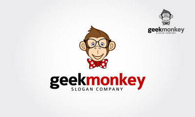 Geek monkey character illustration logo icon vector