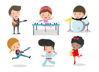 Kids and music, Children playing Musical Instruments, set of Kids playing different musical instruments,Vector Illustration