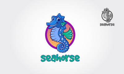 Seahorse symbol with circle shape. Logo Vector illustration