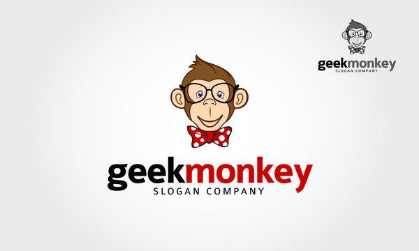 Geek monkey character illustration logo icon vectorGeek Monkey Logo Cartoon Character. Geek monkey vector illustration.