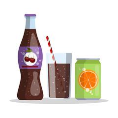 Fototapeta Cherry cola and orange juice