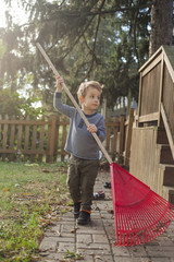 Boy holding rake while walking against trees in yard during autumn