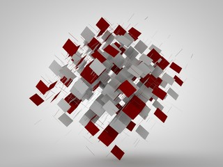3D illustration of a geometric figure, a square and a pyramid, in a cloud of flying fragments. Abstract image. 3D rendering on white background, isolated