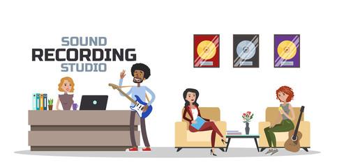 Sound recording studio waiting hall
