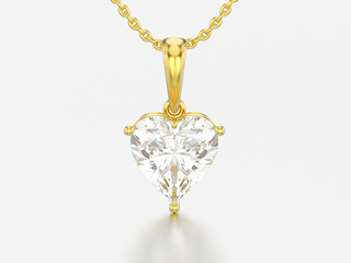 3D illustration yellow gold big heart diamond necklace on chain