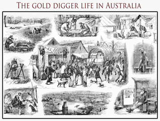 Series of vignettes describing the hard life of a gold digger in central Australia, old print