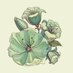 Fototapete - Floral bouquet, vector lilies design