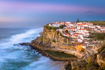 Azenhas Do Mar, Portugal Coastal Town Skyline at Dusk.