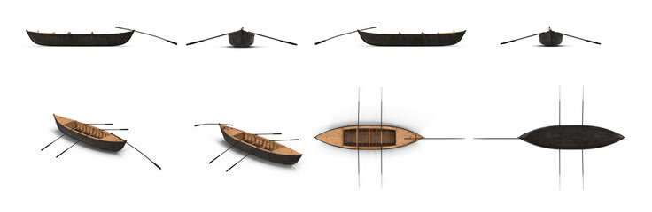 Wooden Durham Boat on white. Top view. 3D illustration