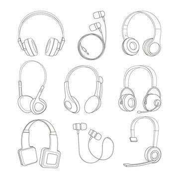 Vector mono line pictures set of headphones
