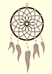 magic symbol Dreamcatcher with gemstones and feathers.