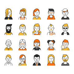Set of various avatars for web projects. Vector pictures in mono line style