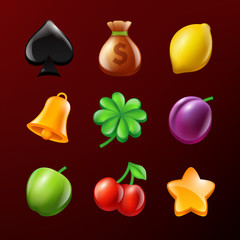 Symbols of slot machine. Set of vector realistic pictures