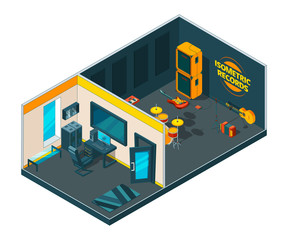 Recording studio interior. 3d isometric pictures of musical studio with various instruments