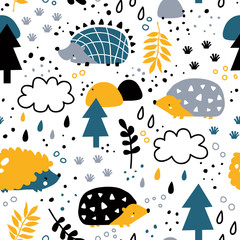 vector seamless background patterns in Scandinavian style,cartoon cute characters  and elements for fabric design, wrapping paper, notebooks covers