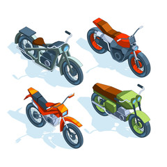Sport bikes isometric. 3D pictures of various motorcycles
