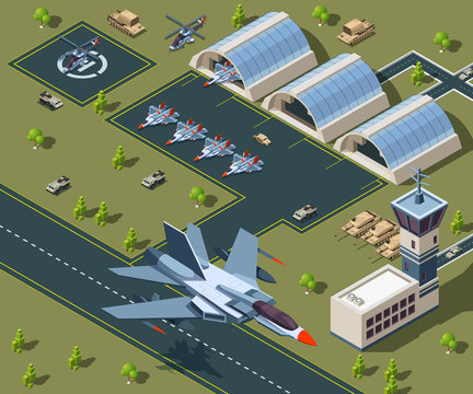 Military airport isometric. Low poly 3d of usa aircraft